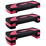 "EveryMile Workout Aerobic Stepper, 4"" 6"" 8"" Levels Height-Adjustable Exercise Step Platform, 31Inch Fitness Step for Exercise, Nonslip Stepper Trainer Risers Deck Sports Accessory"