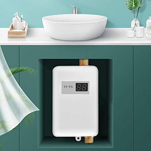 KOSIEJINN Mini calentador de agua, calentador de agua eléctrico instantáneo 3800W, calentador de agua sin tanque con pantalla LCD, sistema de ducha de agua caliente para baño y cocina lavado