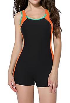 beautyin Womens Bathing Suits Boyleg Racerback Aquatard One Piece Swimming Suits Orange/Black
