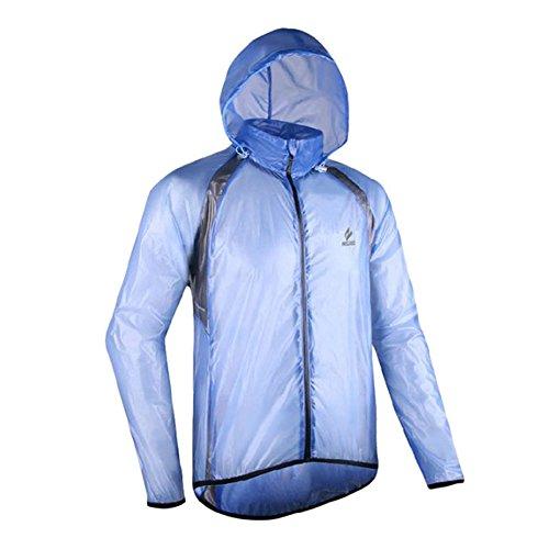emansmoer Homme Coupe-Vent Imperméable Outdoor Veste de Cyclisme Vélo Ultra-Mince Léger Protection Solaire Manteau (XX-Large, Bleu)