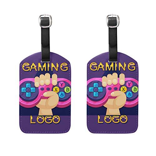 LINDATOP Video Game Logo Plantilla Etiquetas de equipaje Bolsa de viaje Etiquetas para equipaje Maleta 2PCS