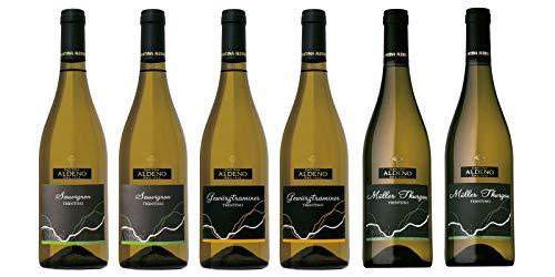 Confezione 6 bottiglie   3 tipologie di Vino Bianco Trentino DOC: Gewurztraminer   Muller Thurgau   Sauvignon - Cantina Aldeno - Athesim Flumen