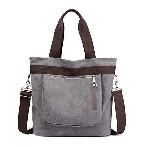 Canvas bag, shoulder bag, handbag, outdoor, large capacity, gray, C0252