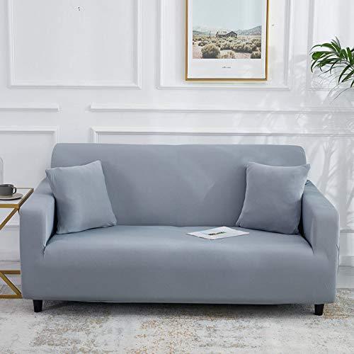 Cojín de sofá Perezoso sofá de Funda Completa, Funda de sofá de Seda de Leche elástica Completa, Textiles para el hogar Gris Claro de Tres plazas 190-230cm