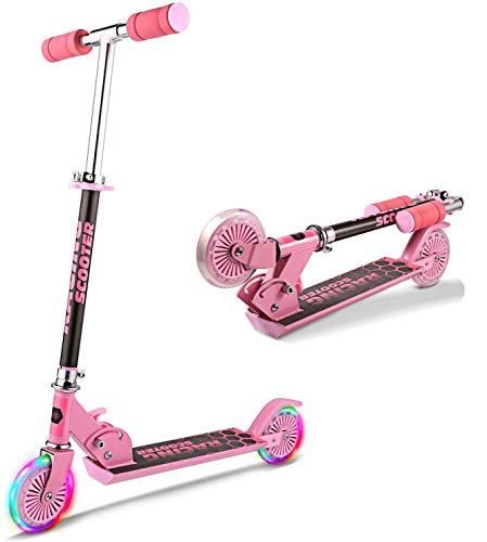 Oppikle Scooter Kinder Roller Tretroller Cityroller Kick Scooter Klappbar Mit Led Big Wheel Kugellager ABEC 7,Tragkraft 110 Lb (Pink)