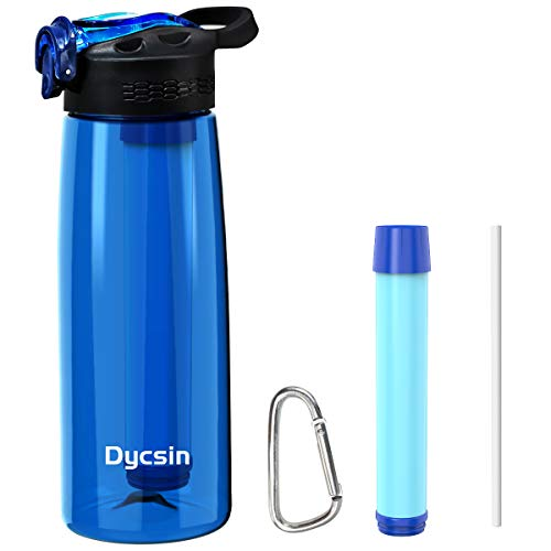 Filtered Water Bottle,Water Purifier with 2-Stage Integrated Filter Straw, for Hiking, Backpacking, and Travel, BPA Free, Leakproof, 22oz(650ml)(Blue)