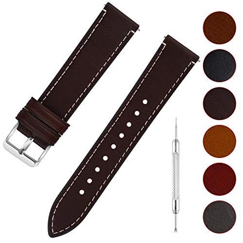 Fullmosa Uhrenarmband Leder mit Schnellverschluss, Wax Oil Serie in 20mm,Kaffee+Silber Schnalle
