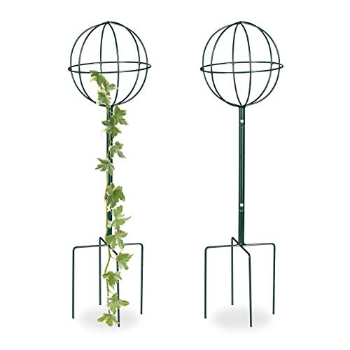 Relaxdays Trellis Set of 2, Freestanding, Flowerbed, Potted Plants, Weatherproof, 80 cm, Dark Green, M