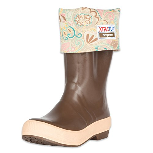 XTRATUF Legacy Series 15' Floral Print-Lined Neoprene Women's Fishing Boots, Copper & Tan (22812G)