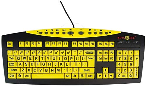 AbleNet Keys-U-See Large Print US English USB Wired Yellow Keyboard, Standard Size Keys with Large Letters - Product Number: 10090103