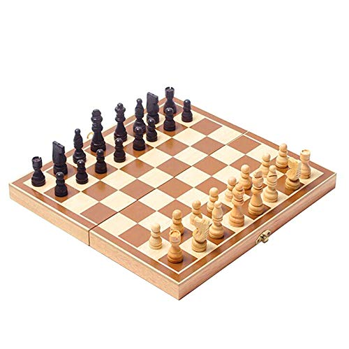Homemari Wooden Chess Set Travel Chess Set Foldable Travel Wooden Game Set Board Game Checkers for Kids Adult 30 x 30 cm