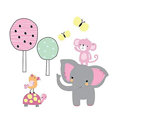 Twinkle Toes Jungle Elephant Wall Appliques, Pink