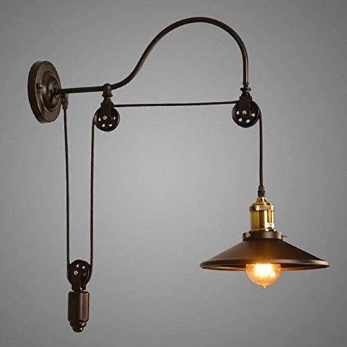 YONGYONGCHONG Linterna de pared de luz brillante lámpara de pared pasillo café-bar ascensor polea lámpara de pared lámpara industrial de bronce antiguo luces de pared 20 x 40 x 40 cm luz patio