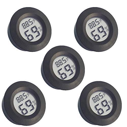 Newlight66 - Termómetro higrómetro (°F) con monitor LCD digital para interiores y exteriores, medidor de humedad con encendido/apagado, para invernadero, guitarra, cuarto de bebé (5 unidades)