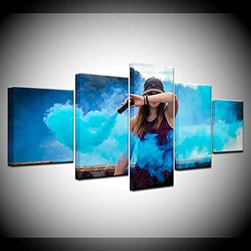 YUXIXI 5 Piezas Cuadro sobre Lienzo De Fotos 3D Lienzo Impresión Cuadros Decoracion Salon Grandes Cuadros para Dormitorios Modernos Mural/con Marco/150X80Cm/Chica Humo De Colores
