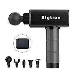 BigTron massager, cordless percussion massager for effective deep tissue muscle massage with 5 heads / portable bag, powerful and quiet