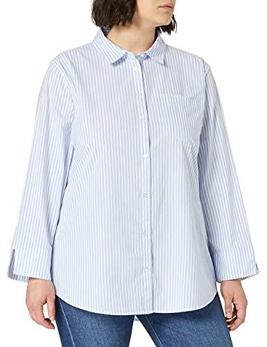Amazon Essentials Classic-Fit 3/4 Sleeve Poplin Shirt Dress-Shirts, French Blue Stripe, L