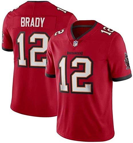 Camiseta de rugby para hombre, de la NFL Tampa Bay Buccaneers 12# Tom Brady de manga corta, cómoda y transpirable, camiseta deportiva de manga corta con cuello en V, color rojo, talla M