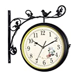 L&J Double Sided Wall Clock Quiet Train Station Clock Metal Creative Double-Sided Clock for Indoor and Outdoor Coffee Shops, Gardens, Railway Station Clock face Diameter 16 inches 4.13