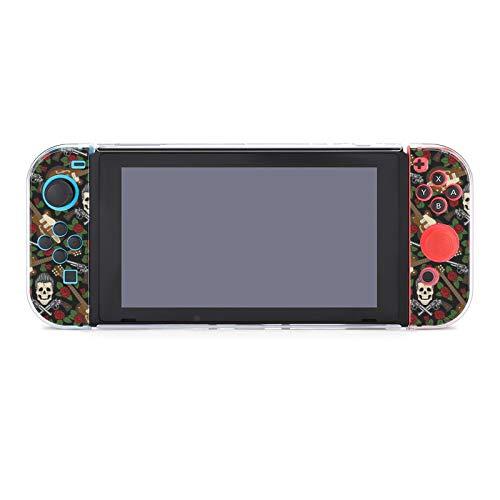 Hülle für Nintendo Switch Rockabilly Gitarre und Totenkopf Fünfteiliges Set Schutzhülle Case Kompatibel mit Nintendo Switch Spielekonsole