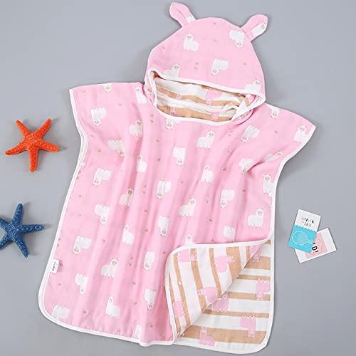 FISISZ 6 Capas Toallas de baño para bebés y niños Capa Ultra Suave con Capucha para niños Gasa de Dibujos Animados Albornoz Infantil Bibulous Toalla de Playa 60 * 60cm-Alpace Pink