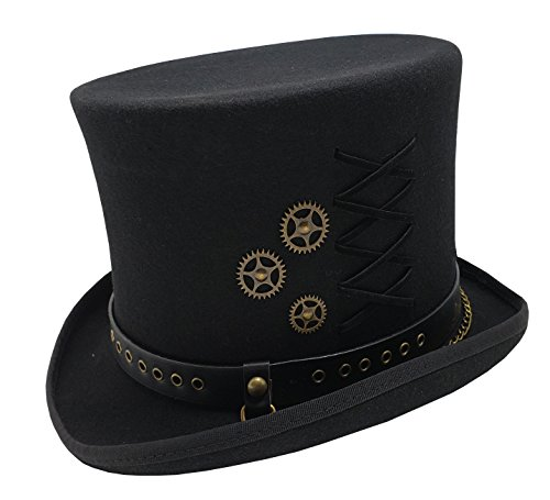 Different Touch 100% Wool Felt Victorian Mad Hatter Steampunk 6″ Tall Magic Top Hats (S, Black)