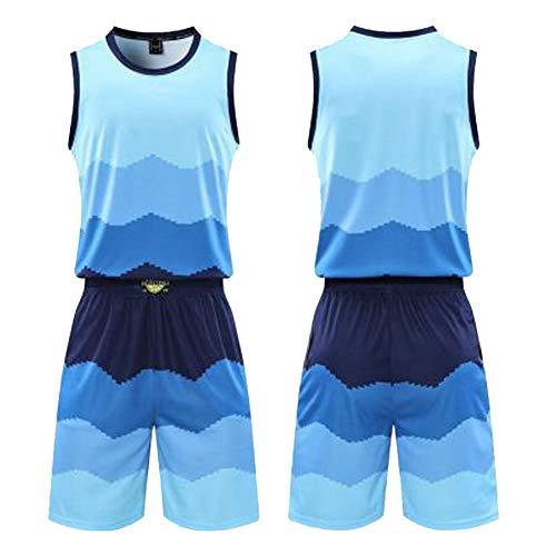 Uniformes de entrenamiento de baloncesto, dos piezas de baloncesto uniformes para chalecos y pantalones cortos, uniformes de entrenamiento de competición de hombres y mujeres de la tabla de luz de baloncesto ropa azul claro (XS-5XL), 123, 123, color color, tamaño lightblue-XS