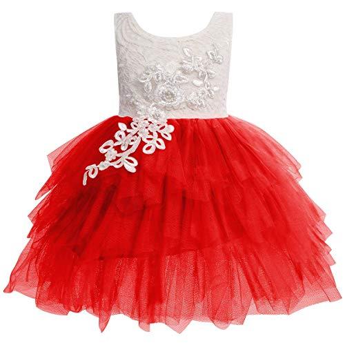 IBAKOM - Vestido de princesa para bebé con diseño de flores en...