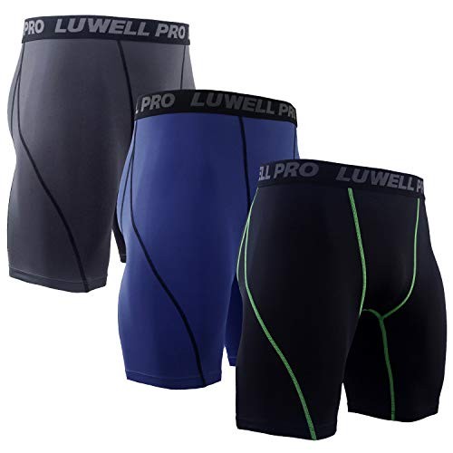LUWELL PRO 3er Pack Herren Kompressionsshorts, Schnelltrocknendes Baselayer Unterhose Strumpfhose Kurze Hose Laufunterwäsche für Workout,Laufsport,Fitness(1126-Mixed Navy-L)