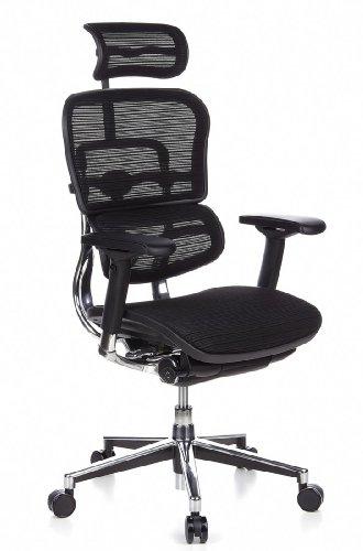 hjh OFFICE 652111 Luxus Chefsessel ERGOHUMAN Netzstoff Schwarz hochwertiger Bürodrehstuhl mit Vollausstattung
