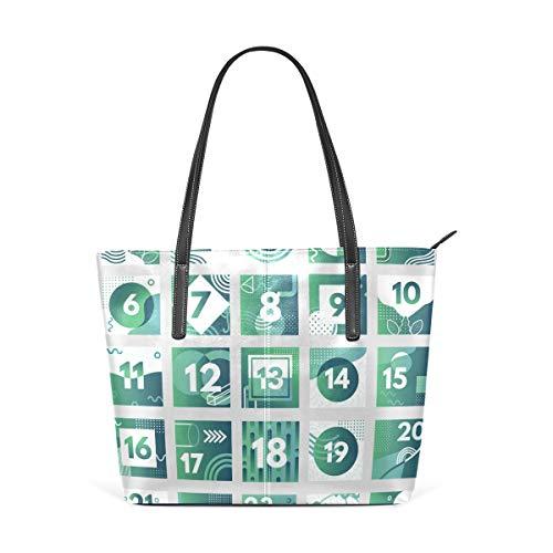 AMONKA Abstrakte grüne Weihnachtskalender mit Muster, modische Ledertasche, Schultertasche, Handtasche für Damen und Mädchen