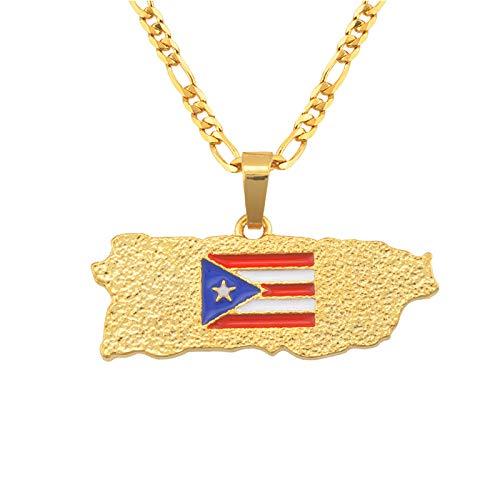 Collar De Mapa,Ein Weltkarte Halskette,Map Necklace,Casual Fashion Puerto Rico National Flag Golden Metal Pendant Necklace Bohemian Gold Bling Unique Ethnic Charm 60Cm Chain Jewelry For Women Man Tr
