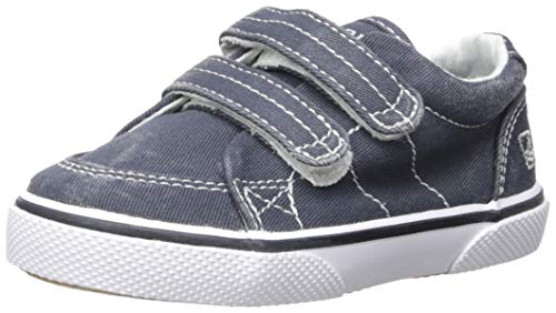 Sperry Halyard Hook & Loop Boat Shoe (Toddler/Little Kid),Navy Saltwash Canvas,7 M US Toddler