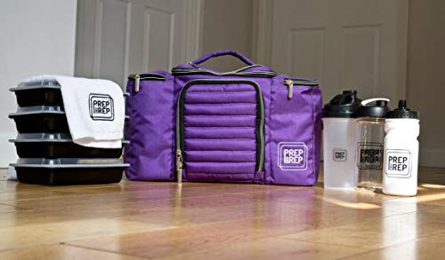Prep and Rep Meal Prep Bag with Smoothie Bottle, Protein Shaker, Water Bottle and 4 Meal Prep Containers. BPA-Free, Reusable, Microwaveable and Freezer Safe with Shoulder Strap. Purple