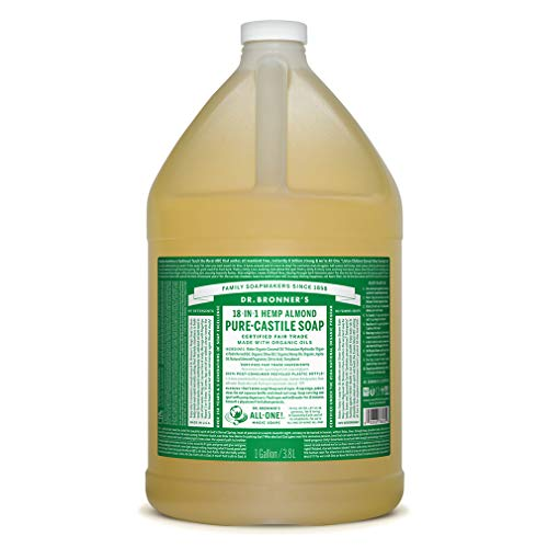Dr. Bronner's - Pure-Castile Liquid Soap (Almond, 1 Gallon) - Made with Organic Oils, 18-in-1 Uses: Face, Body, Hair, Laundry, Pets and Dishes, Concentrated, Vegan, Non-GMO