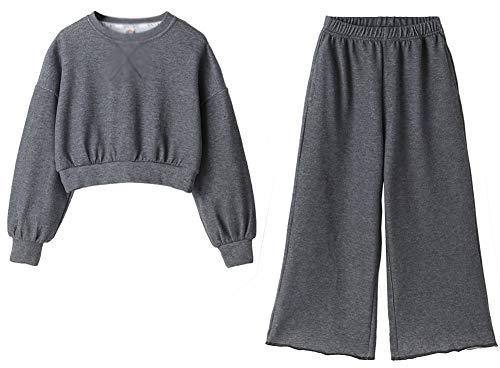 Primavera de niñas y otoño Sueltos Casuales, Pantalones de Pierna Ancha de niños Grandes, Traje de Dos Piezas, Gris grey-110cm