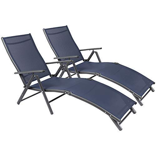 Tuoze Outdoor Chaise Lounge Chairs Patio Furniture Adjustable Folding Recliner Chair Set of 2 (Blue)