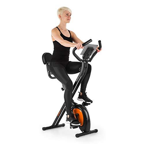 Capital Sports Azura Air - Bicicleta estática de cardio, Plegable, Computador de entrenamiento, Pulsómetro, Sillín ergonómico, 7 niveles altura, Pedales antideslizantes, Pantalla LCD, Naranja