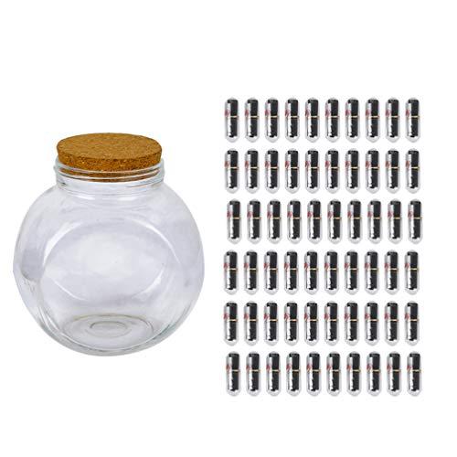 NUOBESTY Conjunto de Botella de Deseo Mensaje de Cápsula en Una Botella de Vidrio Kit de Tarro de Deseo de Vidrio para Niñas Regalo del Día de San Valentín