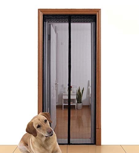 """Aloudy magnetic screen door fits doors up to 36"""" x 98"""" max, full frame velrco instant mesh curtain, hands free bugs off door screen with magnets"""