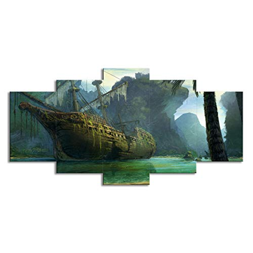 5 piezas de dilapidado barco de vela vista a la montaña paisaje marino pintura salón decoración familia arte de la pared