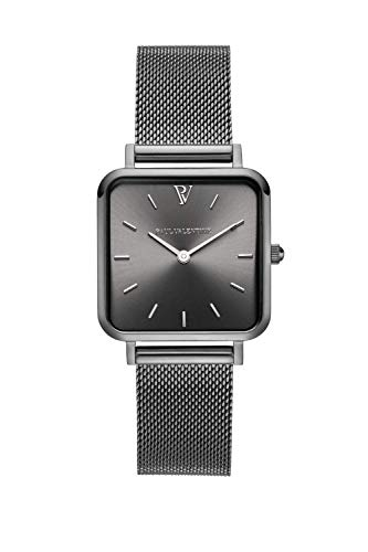 PAUL VALENTINE ® Damenuhr Glossyedge Uhr aus Edelstahl mit Mesh Armband Edle Damen Uhr mit japanischem Quarzwerk - Armbanduhr für Damen (Graphite Mesh)