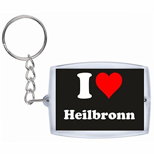 Druckerlebnis24 Schlüsselanhänger I Love Heilbronn in Schwarz - Exclusiver Geschenktipp zu Weihnachten Jahrestag Geburtstag Lieblingsmensch