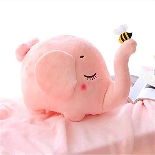 N / A Almohada de Dibujos Animados creativos Felpa Orejas Grandes Elefante Gris de Felpa con Juguete de Abeja en la Nariz Manta de Felpa para bebé Elefante-Aproximadamente 38 cm