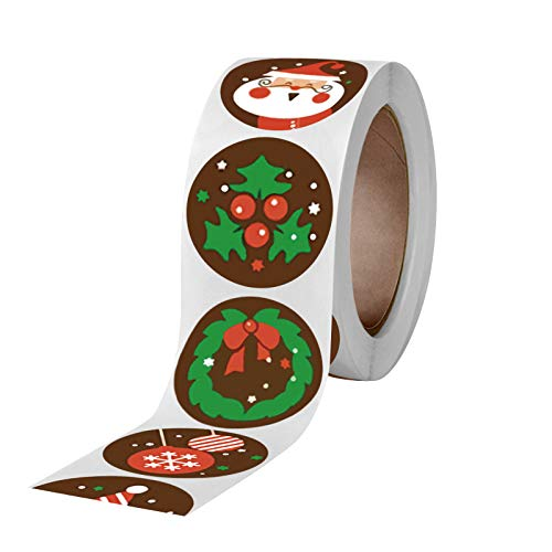 Fineday Pack Sticker Christmas Decorating Gift 1 Roll 500 Posts Christmas, Home Decor for Christmas Day (A)