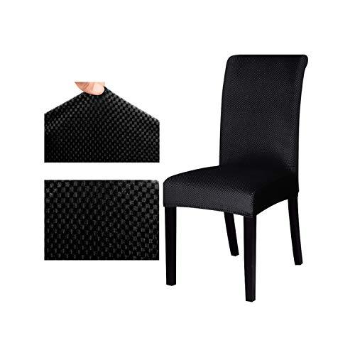 HGblossom Jacquard-Muster-Universalstuhl-Abdeckungs-Ausdehnungs-Sitzstuhl-Abdeckungs-Schutz-Schonbezug für Hotel-speisende Bankett-Inneneinrichtung Schwarzes Universalgröße