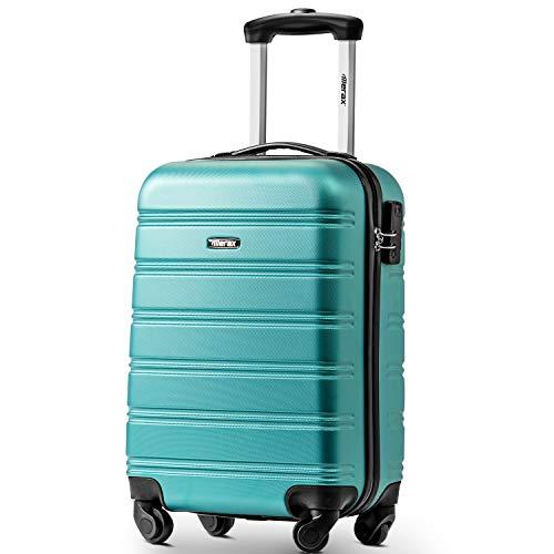 Travelhouse Suitcase Travel Luggage Locks Hard Shell Lightweight 4 Wheel Suitcas (20', Peacock Blue)