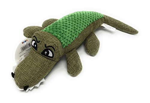 Caroline The Crocodile' Dog Squeak Toy/Tuscan Olive Green Hemp Fabric Medium Alligator (11.5