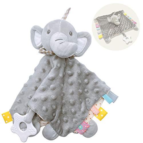 Inchant Doudou Neonati Copertine di Conforto Sicurezza Straccetto Doudou a Forma di Elefante Giocattolo di Pezza Elefante,Straccetto Fazzoletto per Bebè Neonato Bambini (Grigio)