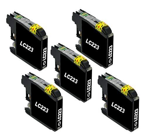 Bergsan 5 Schwarz Druckerpatronen Kompatibel mit Brother LC223 für MFC-J5320DW DCP-J4120DW MFC-J5720DW MFC-J5625DW MFC-J4620DW MFC-J4420DW MFC-J4625DW MFC-J5620DW MFC-J480DW MFC-J680DW MFC-J880DW